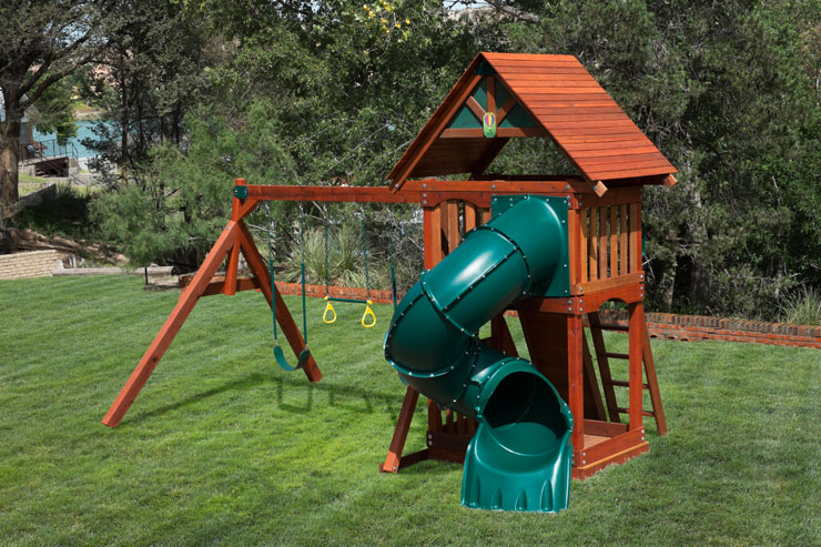 Pre assembled backyard wooden swingsets 20 off for Small wooden swing sets