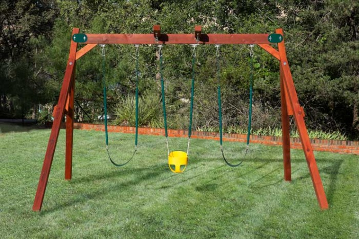 Double a frame swing set by west texas swing for Small wooden swing sets