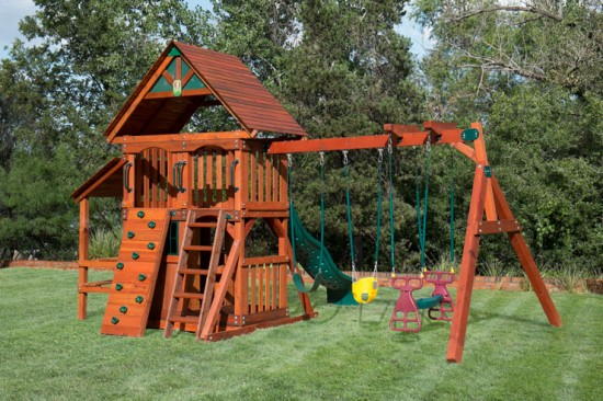 Wooden Playset With Playhouse Swing