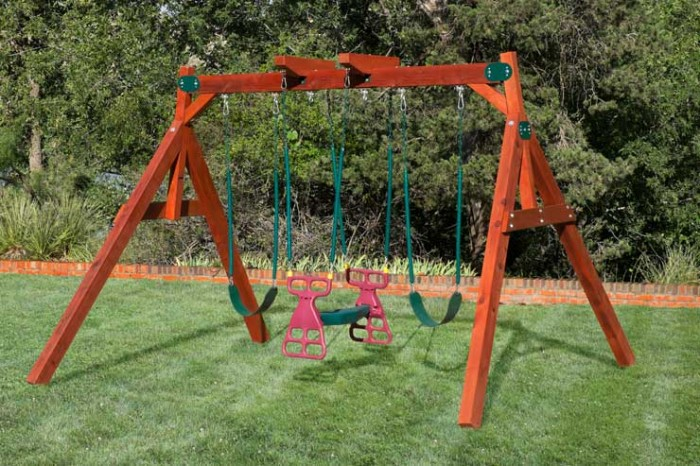 Backyard wooden swing sets in texas oklahoma for Small wooden swing sets