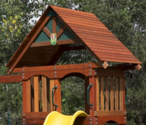 Swing Set with Wooden Roof