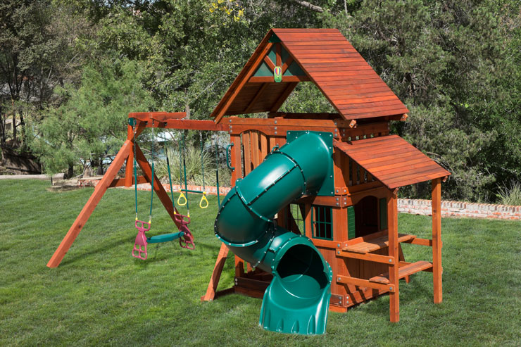 Wooden Playset with Playhouse, Swing ...