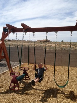 Wood Swing Set in New Mexico