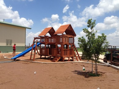 Custom Wooden Swing Set in New Mexico